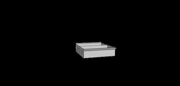 Caja metálica ranurada doble frente con 1 separador