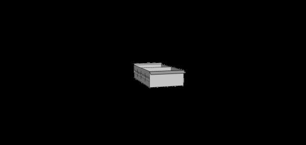 Caja metálica ranurada mediana con 1 separador