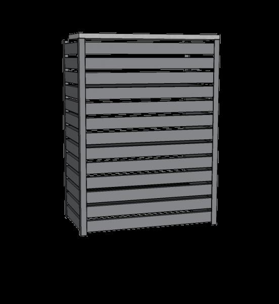 Mueble de caja con frente metálico